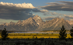 Tetons in the Morning (Irwin Scott) Tags: morning travel mountain nature silhouette clouds landscape rocky roadtrip summertime wyoming vaction grandtetonnationalpark