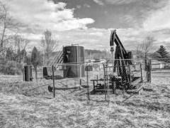 oil well along Saltwell Rd. (photography_isn't_terrorism) Tags: bw wv westvirginia hdr oilrig oilderrick oilwell pumpjack
