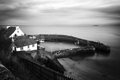 Crail Harbour (Matt 82) Tags: ocean uk longexposure sunset sea bw sunlight lighthouse seascape art water monochrome beauty river scotland student artwork nikon europe harbour britain scottish atmosphere naturallight forth february lothian riverforth d800 zoomlens vantagepoint crail isleofmay scottishhistory visitscotland forthestuary fullfrane cityofglasgowcollege matt82 nikkorafs2485mmf3545edvr