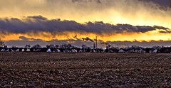 Fields 2, Belvidere, New Jersey (a2roland) Tags: lighting new light sunset chimney sky sun nature clouds sunrise landscape evening photo smog twilight haze corn flickr state smoke nj picture atmosphere norman jersey silos farmer diffusion flicker zeb farmlands belvidere fileds a2rolandyahoocom
