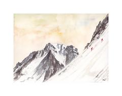 Corde  la Petite Verte (Yvan LEMEUR) Tags: montagne alpes aquarelle peinture glacier watercolour neige acuarela chamonix alpinisme hautesavoie argentire corde hautemontagne aiguilledargentire petiteverte