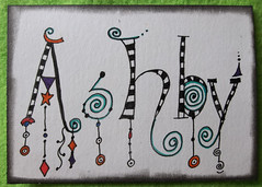 Tangles Names Ashby 2 (purple_24) Tags: atc name arttradingcard swapbot zentangle zendoodle