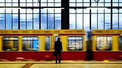 a man on a lonely platform (micagoto) Tags: man berlin station businessman schöneberg platform business sbahn bahnsteig ringbahn