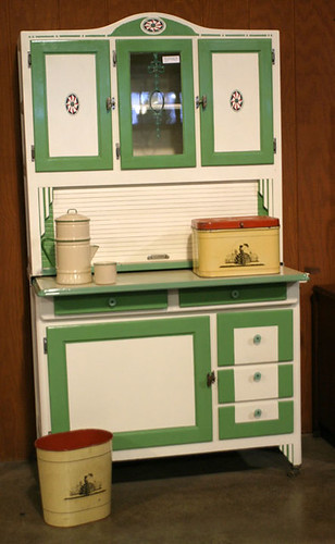 Painted Green and White Kitchen Cabinet $522.50