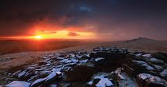 Sunrise at Beardown Tors (markgeorgephotography.co.uk) Tags: uk morning winter light england sky cloud sun sunlight snow storm west color colour nature weather clouds rural sunrise landscape dawn rocks colours natural unitedkingdom outdoor south atmosphere devon environment geology dartmoor cloudscape atmospheric manfrotto winterscene landscapephotography weatherfront dartmoornationalpark southwestengland leefilters landscapephotographer canonef1635mmf28iiusm canon5dmkiii canon5dmk3