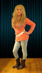 Kiss and say goodbye.... (Irene Nyman) Tags: blue orange cute sexy dutch sweater eyes cowboy kiss legs boots fluffy tgirl jeans tranny blonde irene crossdresser nyman travestiet