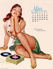 pin-up Girl (CardCollector & HobbyPhotographer) Tags: illustration 1953 pinupgirl calendargirl almoore