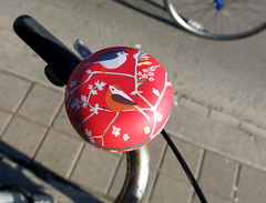 Springy Ringy (Georgie_grrl) Tags: flowers red toronto ontario cute birds bike bicycle wheel pretty bell spokes explore hooray springishere bloorstreetwest bikingtoronto changeyourliferideabike canonpowershotg15 aintittweet apassingcyclistforkat