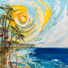 SS36X36-2016-106COM (Justin Gaffrey) Tags: blue trees lake seascape art beach nature water sunshine yellow painting movement artist wildflowers acrylicpaint paletteknife impasto 30a lakescape sowal justingaffrey