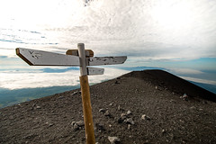 to the land forgotten by time (PauloRossi) Tags: sky mountain signs nature sign japan clouds trekking landscape outdoors volcano tokyo sand fuji post cloudy outdoor hiking path empty hill peak adventure mountfuji  signpost volcanic pathway
