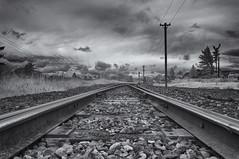 Steel road (David Feuerhelm) Tags: monochrome landscape nikon rails infrared persepctive d90 1685mm