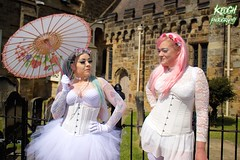 IMG_9321 (Neil Keogh Photography) Tags: pink flowers blue white green abbey graveyard yellow dreadlocks female umbrella fence shoes purple candy boots lace bra gothic goth goggles trainers tattoos gloves corset braids spikes gravestones tutu choker cybergoth whitbyabbey dogcollar fishnettights whitbygothweekend fishnettop april2016