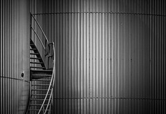 Abstract industry (bingrens) Tags: white black reflection industry monochrome stairs grey tank simple minimalistic