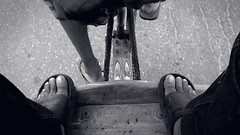Snail-paced. (rahat_kabeer) Tags: road video slow leg worker bnw unstable rikshaw htc strugler