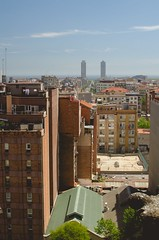 Barcelona (Andrea Melanie) Tags: barcelona sea tower buildings fun spain meer warm view april sagradafamilia spanien ausblick overview barce niceweather weitblick nativitytower