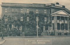 CEN Caro MI c.1930s HOTEL MONTAGUE the ORIGINAL Tuscola County Historic Hotel Restaurant AND TAPROOM Architect Cowles & Mutscheller Classical Revival Design Photographer UNK2 (UpNorth Memories - Donald (Don) Harrison) Tags: travel usa heritage history tourism st vintage antique michigan postcard memories restaurants hotels trailer roadside upnorth steamship cafes excursion attractions motels mackinac cottages cabins campgrounds city bridge island car upnorthmemories rppc wonders big railroad michigan memories mac state parks entertainment natural harrison roadside ferry travel don tourist mackinaw stops upnorth straits ignace