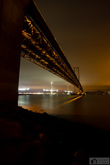 Forth road bridge at misty night (Photographs by Jacques) Tags: morning light red sea sky nature water beautiful beauty fog night clouds landscape scotland construction edinburgh pretty colours forth southqueensferry northqueensferry