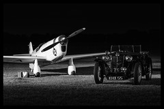 Percival E.2H Mew Gull and MG TA Midget Roadster - 2 (mod) (NickJ 1972) Tags: night shoot gull aviation nightshoot mg collection midget ta shuttleworth percival mew roadster e2 2015 oldwarden gaexf