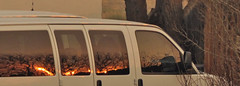 Submitted for your consideration: Optical Anomaly or the Twilight Zone? (b.s. Shaman) Tags: windows sun reflection mystery fire centennial twilight colorado metro optical denver spooky van oddity zone wildfire anomaly