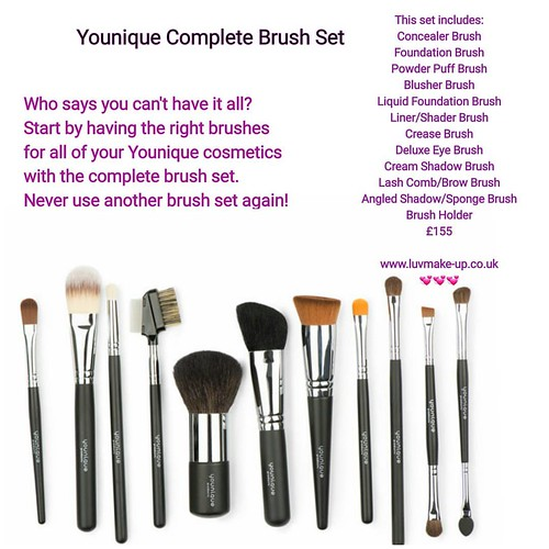 Never want another brush sey again!  This set includes: Concealer Brush Foundation Brush Powder Puff Brush Blusher Brush Liquid Foundation Brush Liner/Shader Brush Crease Brush Deluxe Eye Brush Cream Shadow Brush Lash Comb/Brow Brush Angled Shadow/Sponge