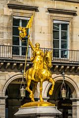 Joan of Arc Sculpture (Serendigity) Tags: city horse woman paris france statue gilded armour jeannedarc