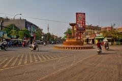 Roundabout in Siem Reap, Cambodia (UweBKK ( 77 on )) Tags: road street city asia cambodia kambodscha traffic sony roundabout siem reap southeast alpha dslr angkor 77 slt