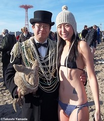 Dr. Takeshi Yamada and Seara (Coney Island Sea Rabbit) at the Coney Island Polar Bear Club's New Year Day Dipping (winter swimming event) at the Coney Island Beach in Brooklyn, New York on January 1, 2012.  mermaid.  20120101 087cp90----- (searabbits23) Tags: winter ny newyork sexy celebrity art beach hat fashion animal brooklyn asian coneyisland japanese star costume tv google king artist dragon god cosplay manhattan wildlife famous gothic goth performance pop taxidermy cnn tuxedo bikini tophat unitednations playboy entertainer samurai genius donaldtrump mermaid amc mardigras salvadordali billclinton hillaryclinton billgates aol vangogh curiosities sideshow jeffkoons globalwarming takashimurakami pablopicasso steampunk damienhirst cryptozoology freakshow barackobama polarbearclub newyearday seara immortalized takeshiyamada museumofworldwonders roguetaxidermy searabbit ladygaga climategate minnesotaassociationofroguetaxidermists