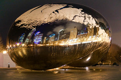 The Bean! (kzoop) Tags: nightphotography travel sculpture chicago reflection art skyline night mirror artwork cityscape outdoor chi cloudgate thebean