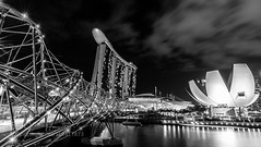 Helix (jamiemonsteroo) Tags: travel bridge blackandwhite white black art skyline museum architecture night marina photography bay singapore cityscape science helix sands mbs 500px ifttt