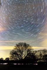 """""""Poolster""""   Door middel van het stitchen van 45 foto's is de draaiing van de aarde t.o.v. de sterren duidelijk te zien.    Canon 600D + Sigma 17-70mm F2.8-4   @45x 25 sec. ; F2.8 ; ISO 3200"""