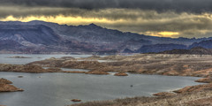 Lake Mead Sunrise (magnetic_red) Tags: lake storm mountains water clouds sunrise landscape boat fishermen desert nevada dramatic stormy lakemead hdr americanwest