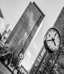 Canary wharf clocks ({MrsB}) Tags: white black time commuting canarywharf clocks