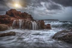 Sea-waterfall (Mathulak) Tags: sea cloud sun mer seascape soleil waterfall rocks waves nuages vague rochers fil