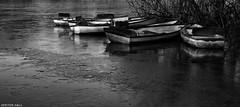 Ice Breaker (peterphotographic) Tags: uk england blackandwhite bw lake london ice water monochrome canon eppingforest boat frozen pond britain freeze nik wanstead eastlondon rowingboat snaresbrook hollowponds g15 silverefexpro2 peterhall img6138sefexedwm