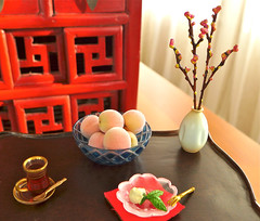 Rement Japanese Tea Set (Big Red Angel) Tags: set japanese doll tea peaches rement diorama bigredangel