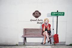 Have a coffee break~ (Angeline Goh) Tags: travel streetart 35mm marilynmonroe voigtlander streetphotography luggage malaysia penang nokton coffeebreak a7r lebuhchulia sonya7r