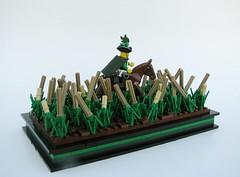 ETWC Oat Plantation (Robert4168/Garmadon) Tags: horse brown black green dark lego border tan crop plantation sword messenger minifig base oat plume minifigure etwc eslandola brethrenofthebrickseas easttradewindcompany