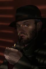 Mirada Amenazadora. (Carlos Velayos) Tags: film hat gangster cigarette cine pelicula sombrero lighter mirada gaze mafia mafioso cigarrillo delincuente mechero venetianblind ganster gangman persianaveneciana