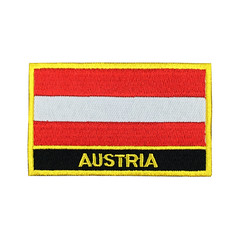 Austria Flag Patch Embroidered Patch Gold Border Iron On patch Sew on Patch Bag Patch (edwardCepheus) Tags: gold austria iron flag border nation sew patch patches embroidered