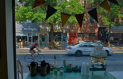 Park Slope Saturday (MPnormaleye) Tags: street city urban water bike bicycle brooklyn restaurant store cafe bottles police business utata decanter 18mm pennant