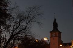 As I Wander Around (sleepingonahigh) Tags: sky tree dawn prague streetlights branches praha nebe ulice architektura stromy světla obloha svítání věž větve