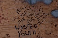 Wasted youth (michael_hamburg69) Tags: seattle wood usa wall washington graphic doodle wa scrawl constructionsite scribble nohomo wastedyouth willdopornfordrugs