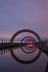 Falkirk Wheel (reiver iron - RMDPhotos.co.uk) Tags: sunset reflection wheel night scotland clyde canal long exposure lock union illuminated forth falkirk