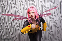x-men pixie 03 (CE Photogenetix) Tags: pink portrait woman halloween beautiful beauty metal female silver comics studio fly flying costume wings comic cosplay action flight running pixie fairy xmen hero superhero fairey marvel catsuit select canon40d christinaedwards