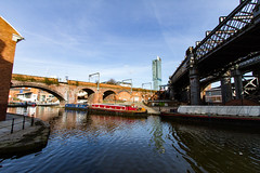 Manchester March 2016 (2 of 9) (johnlinford) Tags: city uk bridge england urban architecture manchester canal rail infrastructure girder canonefs1022