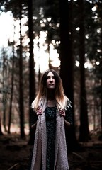 In the forest (khitos) Tags: trees portrait woman tree green girl beautiful forest scarf model calm lovely