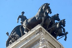 Gran Via Madrid Spain 3rd March 2016 (loose_grip_99) Tags: madrid city horses holiday art statue architecture bronze buildings march spain landmarks statues tourist monuments sculptures chariot iberia granvia 2016 citybreak bancodebilbao