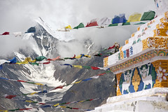 Prayer flags and stupas#3 (bag_lady) Tags: india mountains stupa pass buddhism valley prayerflags himalayas spiti himachalpradesh lahaul kunzumla 4551m