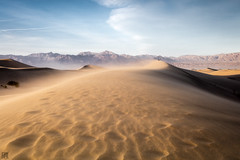 Sandstorm (lycheng99) Tags: california travel shadow sky storm mountains nature landscape sand desert wind dunes sandstorm deathvalley hiker sanddunes swirling desertstorm deathvalleynationalpark swirlingwind