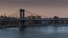 New York, NY: Manhattan Bridge crossing the lower East River to Brooklyn (nabobswims) Tags: sunset newyork brooklyn us unitedstates manhattan manhattanbridge lightroom nabob sonya6000 nabobswims